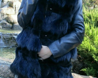 New!Natural Real BLue BLack Fox Fur vest with Beautiful fox collar!!!