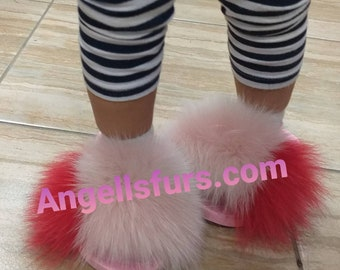 New!Real FOX Fur GIRL SLIDES!