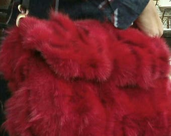 New!Natural,Real Cherry Red color Fox Fur Bag!