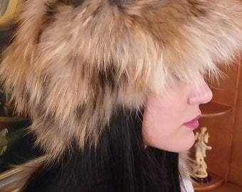 New!Natural,Real Light Golden Brown Raccoon Fur HAT!