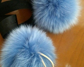 New! FOX POMPOM-keychain in Beautiful light blue color! Free shipping for 2!