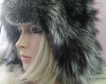 New!Natural,Real Silver Fox Fur Trapper HAT! Unisex