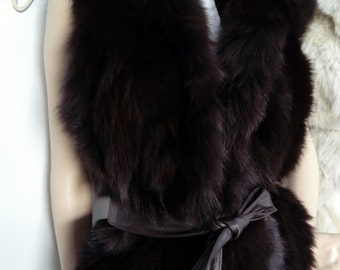 New! Natural Real Chocolate Brown Hooded Fox Fur Vest!