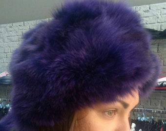 New!Natural,Real PURPLE Fox Fur HAT!!!