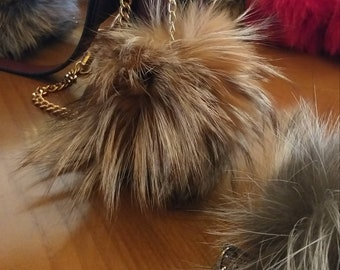 New! Real FOX POMPON-keychain from Beautiful  Natural light Crystal Fox !