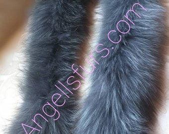 New Natural Real Graphite color Fox FUR SCARF!