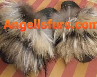 New Real Beautiful RACCOON Fur FLATFORMS!