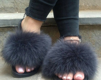 New Real GRAPHIT color FOX Fur SLIDES!