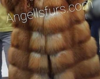 New in!Natural Real Full Pelt RED FOX Fur coat!