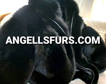 Men'S NEW VERSION Of A Real Natural Hooded Full pelts Black FOX Fur Bomber Jacket!