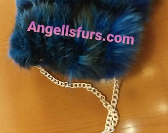 New!Real Natural,Real Royal blue Fox Fur shoulder Bag!