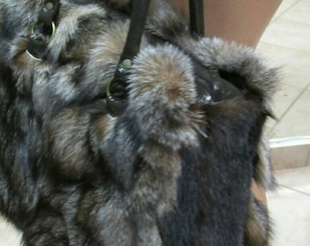 New Natural,Real Crystal FOX FUR BAG with Mink!!!