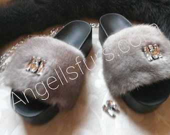 New Real Beautiful MINK Fur FLATFORMS with Decorative stones!