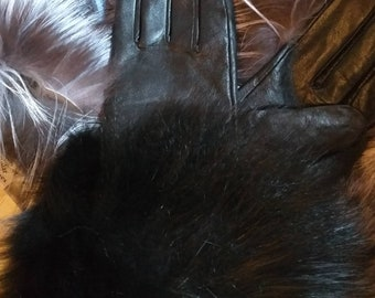 New!Natural,Real Black Leather and black Fox GLOVES!