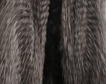 MEN'S!New Real Natural full Silver Fox Fur Vest!