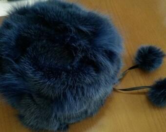 New!Natural,Real BLUE color Fox Fur HAT!