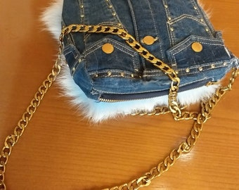 New!Natural,Real Light blue Fox Fur Bag with jean!