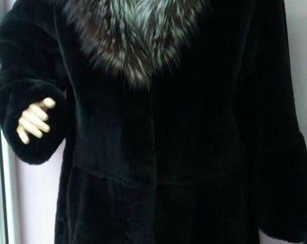 New!Natural Real Beautiful Black Fullskin REX Fur Coat with Silver Fox collar!