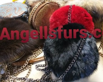 New Natural Real Beautiful Small Round MINK Fur Crossbody Bags!Order any color!