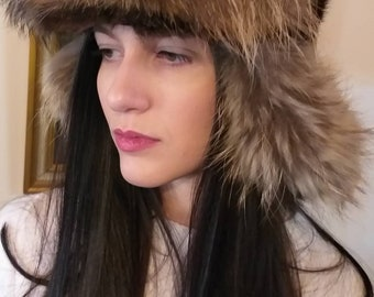 New Natural Real TRAPPER style Fur HAT!UNISEX!