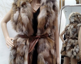 NEW! Natural,Real Fox Fur Hooded Vest!