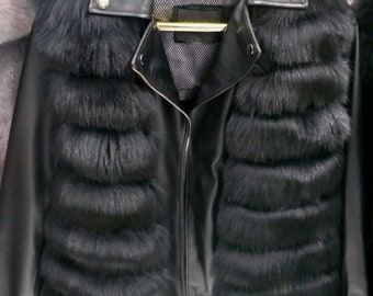 New,Natural, Real Modern model  Black Fox Fur Leather jacket!