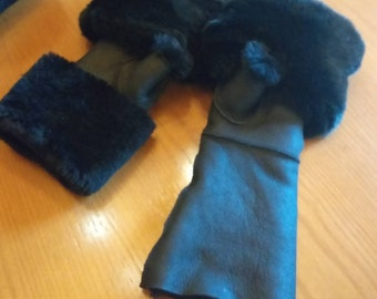 New!Natural,Real LONG Black Sheepskin GLOVES with Rex fur in black or Any color you like!