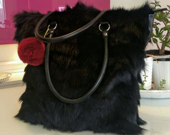 New!Natural,Real BLACK RACCOON Fur SHOPPER Bag
