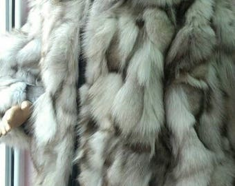 Fox!New,Natural, Real Fluffy Hooded Blue Fox Fur Coat!