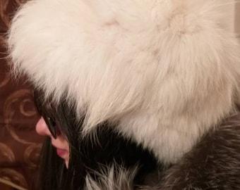 New!Natural,Real Pearl color Fox Fur HAT!