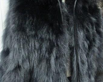 Men'S BASIC BLACK!New Real Fluffy Black FOX Fur Hooded Coat!