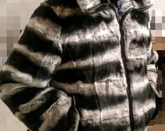 MEN'S New!Real Natural REX fur in chinchilla color short Jacket with Big hood!