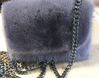 New!Natural,Real Beautiful color Small MINK Fur Bag!Order any color!