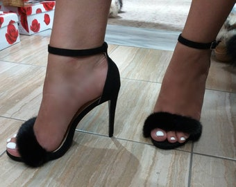 New Real BLACK MINK Fur High heels!Order in Any color!