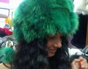 New!Natural,Real Bright Green Fox Fur HAT!