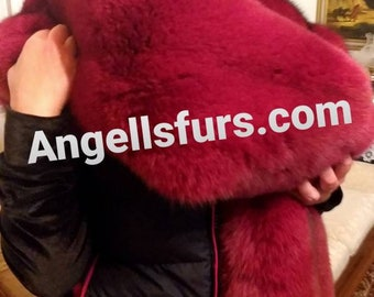 New Natural Real Amazing Big BORDEAUX Color FULLPELTS FOX Scarf!