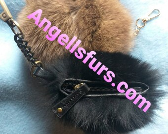 New Natural,Real FOX Fur Pom Wallet- Keychains!