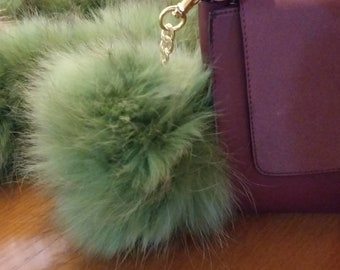 New! FOX POMPOM-keychain in Beautiful GREEN color of fox!