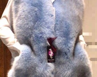 NEW! Natural,Real darker shade Light Blue Fullskin Fox Fur Vest!