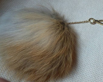 New!Natural,Real Small RED FOX Fur Wallet Keychain!