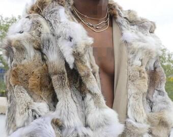 MEN'S NEW!Real Natural Long Hooded  COYOTE Fur coat