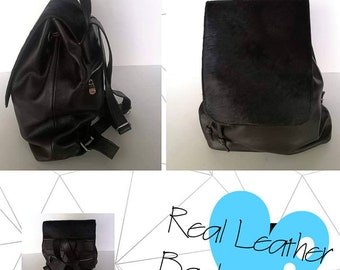 New Natural,Real Black LEATHER backpack Bag!