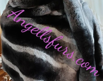 REAL FUR ETOL-Large Scarf!Rex Fur in chinchilla color!Brand New Real Natural Genuine Fur,Unisex