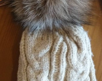 New!Modern beige Cap  with Real Fox pompon on the top!