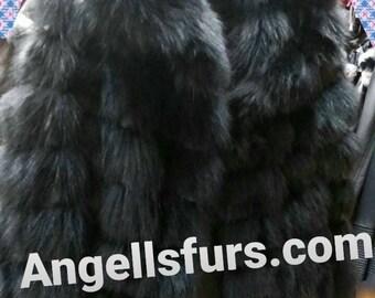 MEN'S New Real Natural Black Fox Hooded jacket!