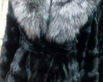 New Natural Real MINK Fur with SILVER FOX!