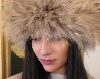 New!Natural,Real sheared Black Noutria Fur HAT with black fox and bronze Raccoon around!