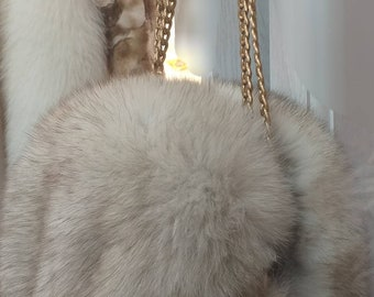 New!Real Natural Full pelt  Blue FOX Fur Bag