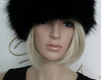New!Natural,Real BLACK  Fox Fur HAT!
