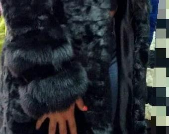 NEW!Natural Real Hooded BLACK Mink Fur Coat